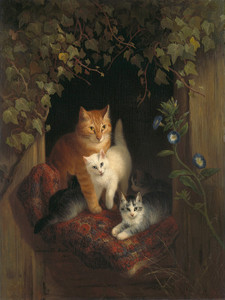 Art Prints of A Cat with Kittens by Henriette Ronner Knip
