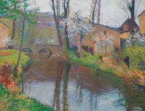 Art Prints of Labastide Green with Bridge by Henri-Jean Guillaume Martin