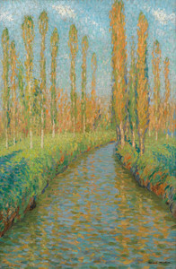 Art Prints of Poplars Along the River in Fall by Henri-Jean Guillaume Martin