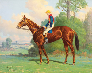 Art Prints of Jockey Up on a Bay Horse in Blue, Yellow and Red Silks by Henry Stull