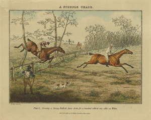 Art Prints of A Steeplechase Covering a Strong Bullock Fence by Henry Thomas Alken