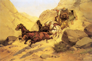 Art Prints of Attack on the Stagecoach by Herman Wendelborg Hansen