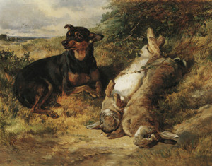 Art Prints of A Manchester Terrier with a Brace of Rabbits by Heywood Hardy