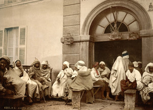 Art Prints of Arabs at a Cafe, Algiers, Algeria (387096)