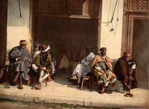 Art Prints of Arabs Before a Cafe, Algiers, Algeria (387097)