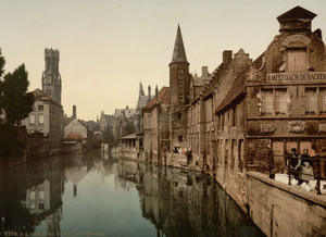 Art Prints of Canal and Belfry, Bruges, Belgium (387158)