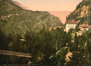 Art Prints of Route de la Tete Noire, the Hotel, Chamonix Valley, France (387034)