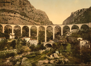Art Prints of Gourdon Gorge of the Wolf, the Bridge, Grasse, France (387298)