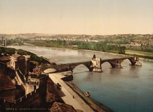 Art Prints of General View and Benezech Bridge, Avignon, Provence, France (387489)