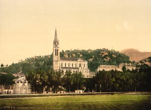 Art Prints of Basilique from la Prairie, Lourdes, Pyrenees, France (387554)