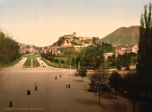 Art Prints of Castle from Terrace of Notre Dame, Pyrenees, France (387551)