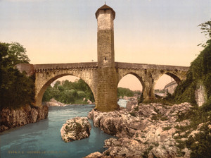 Art Prints of Old Bridge Orthes or Orthez, Pyrenees, France (387565)