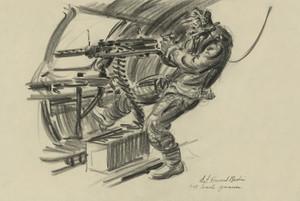 Art Prints of B-17 Waist Gunner, 1942 (22716L) by Howard Brodie