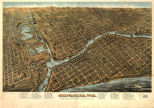 Art Prints of Panoramic Map of Milwaukee, Wisconsin in 1872 by Howard Heston Bailey