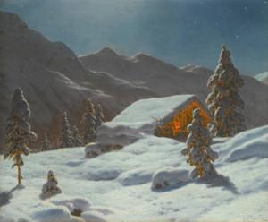 Art Prints of Moonlit Winter Landscape by Ivan Fedorovich Choultse
