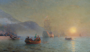 Art Prints of Columbus Sailing from the Palos by Ivan Konstantinovich Aivazovsky