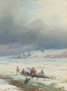 Art Prints of Hauling a Horse Out of the Ice by Ivan Konstantinovich Aivazovsky