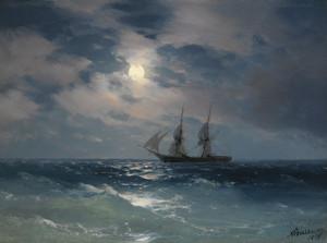 Art Prints of The Brig Mercury in Moonlight by Ivan Konstantinovich Aivazovsky