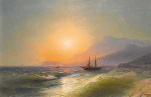 Art Prints of Cap Martin with Monaco by Ivan Konstantinovich Aivazovsky