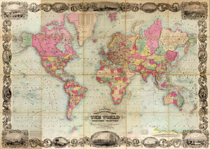 Art Prints of Map of the World, 1854 by J.H. Colton
