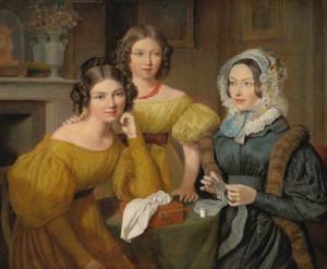 Art Prints of Madame Vieyres and Her Daughters by Jacques-Laurent Agasse