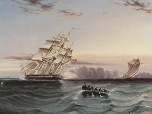 Art Prints of U.S. Frigate and Privateer by James Buttersworth