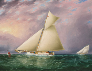 Art Prints of Yacht Race in New York Harbor by James Buttersworth