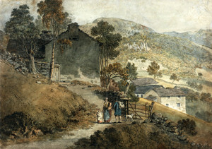 Art Prints of Landscape with Cottages and Figures by James Ward