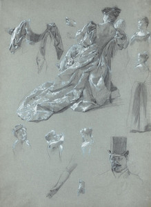 Art Prints of Sheet of Figure Studies by James-Jacques-Joseph Tissot