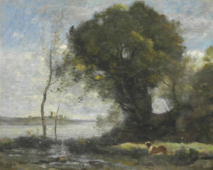 Art Prints of Dog by the Pond by Camille Corot