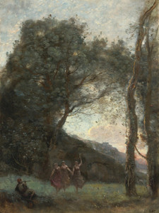 Art Prints of Dance of the Three Shepherdesses, Evening by Camille Corot