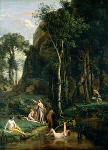 Art Prints of Diana and Actaeon or Diana Surprised in the Bath by Camille Corot