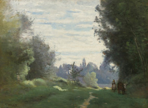Art Prints of Morning Rays, Cows from the Champs by Camille Corot