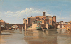 Art Prints of Point de San Bartolomeo Rome by Camille Corot