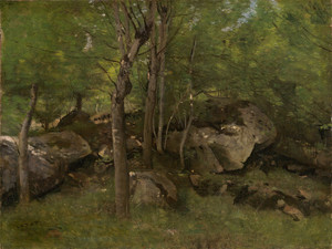 Art Prints of Rocks in Forest Fontainebleau by Camille Corot