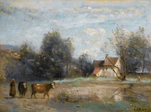 Art Prints of House at the Water's Edge by Camille Corot