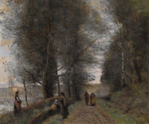 Art Prints of Woodland Path Bordering the Pond by Camille Corot