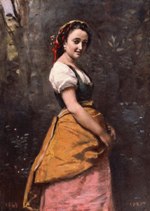 Art Prints of Young Girl in the Woods by Camille Corot