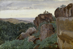 Art Prints of Three People on the Top of the Rocks by Camille Corot