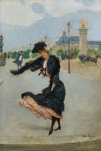 Art Prints of Elegant Woman by the Grand Palace by Jean Beraud