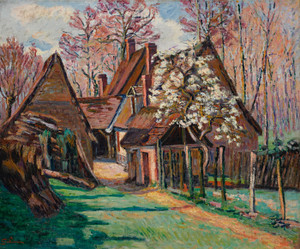 Art Prints of Thatched Cottages at Jouy by Jean-Baptiste-Armand Guillaumin
