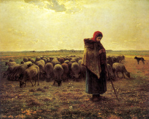 Art Prints of Shepherdess Keeping Her Sheep by Jean-Francois Millet