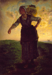 Art Prints of A Norman Milkmaid at Greville by Jean-Francois Millet