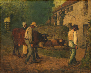 Art Prints of Bringing Home the Calf Born in the Fields by Jean-Francois Millet
