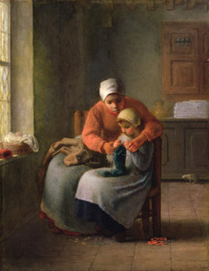 Art Prints of Knitting Lesson by Jean-Francois Millet