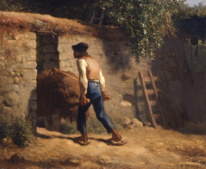 Art Prints of Peasant with a Wheelbarrow by Jean-Francois Millet