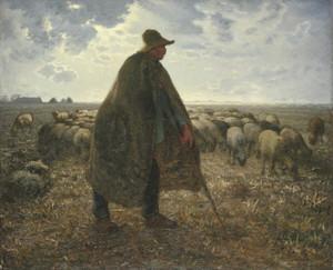 Art Prints of Shepherd Tending His Flock by Jean-Francois Millet