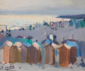 Art Prints of Bathing Huts on the Beach at Vilanova by Joaquim Mir