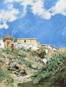 Art Prints of Landscape and Figure in Sagunto, Valencia by Joaquin Sorolla y Bastida