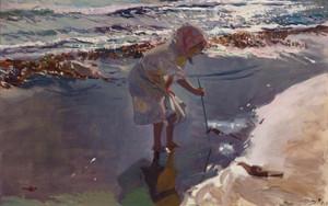 Art Prints of Buscando Mariscos Playa de Valencia by Joaquin Sorolla y Bastida
